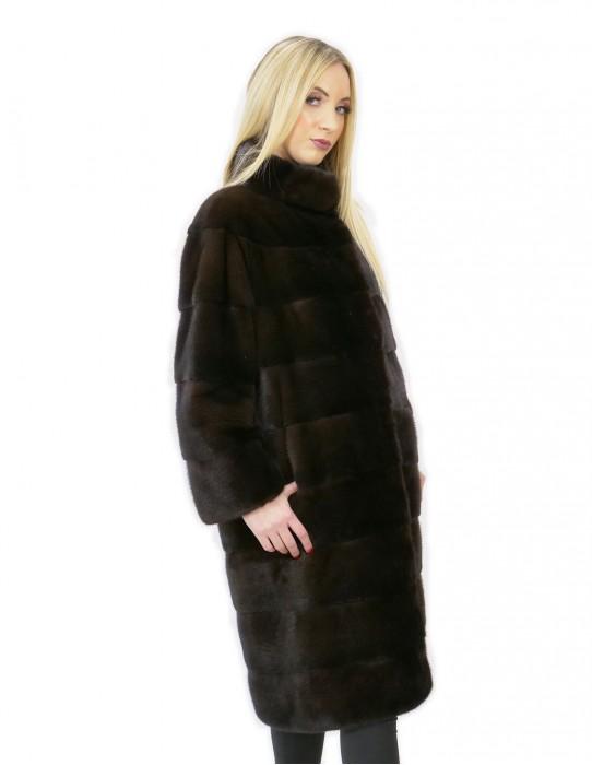 Coat 46 long 100 cm fur mink woman mahogany neck high sleeve 3/4