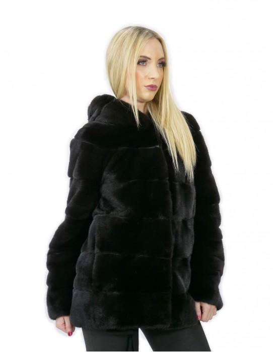 Jacket 44 long 71 cm fur mink woman black hood sleeve 3/4