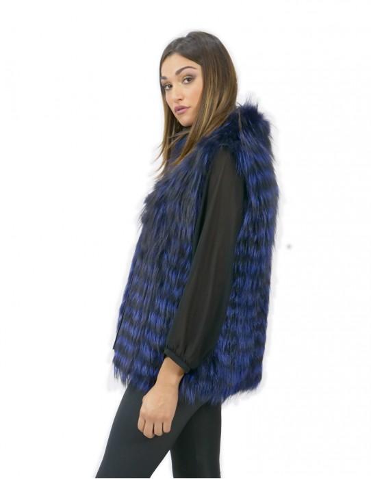 Damen Weste 44 lange 70 cm Fuchspelz gefädelt blau Reißverschluss ärmellose Reißverschluss