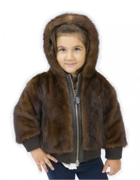 Full skin mink girl bomber jacket with hood and zip 2 and 3 years elastic wrists