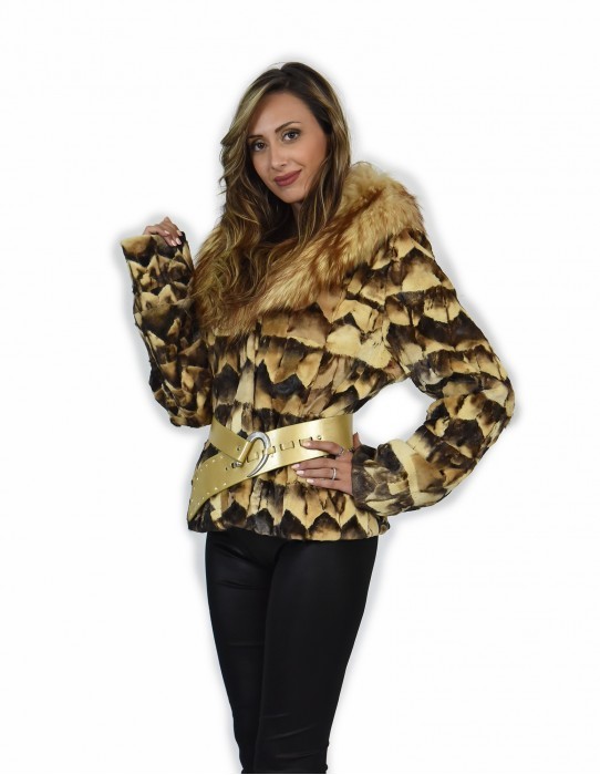 46 White petal mink fur with shawl neck edged in outer belted fox