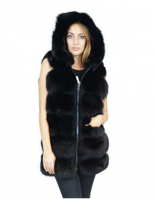 Black fox fur vest with 50 suede inserts and Fox Fuchs renard hood