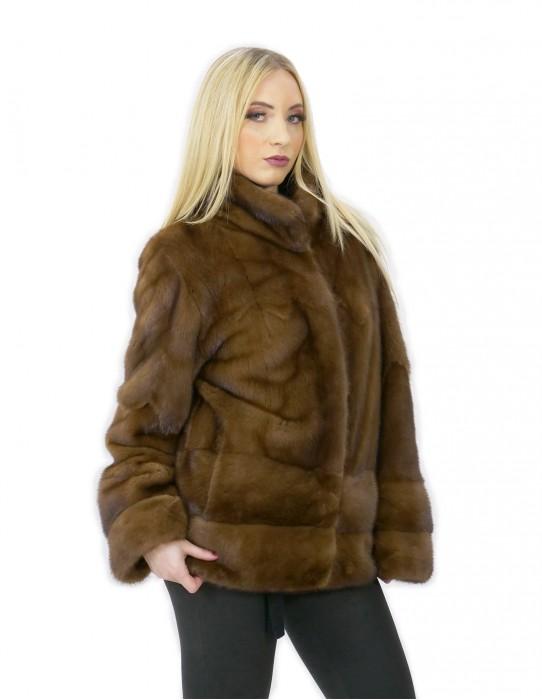 Giacca demy pelliccia visone 48 orizzontale e intera pistagna 70 centimetri