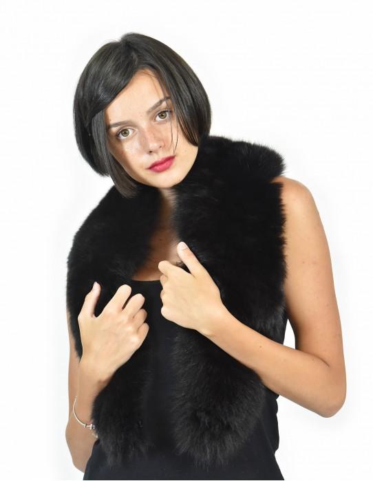 Murmasky fox fur collar 120 cm long black color