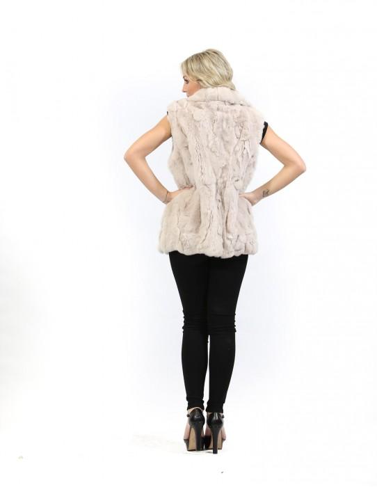 Fur vest Women's beige shawl collar rex foldaway hooks and pockets