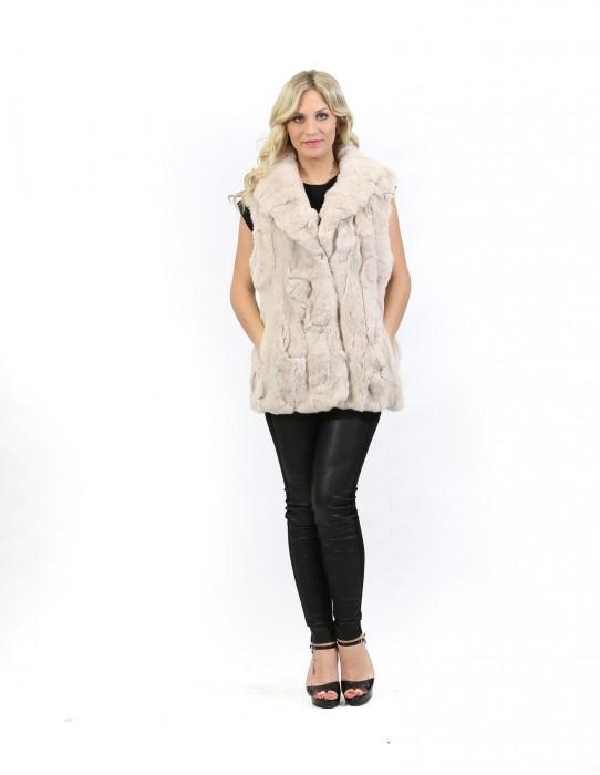 Pelzweste Frauen-beige Schalkragen rex versenkbarer Haken und Taschen