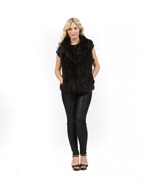 Fur vest Women's rex brown shawl collar foldaway hooks and pockets