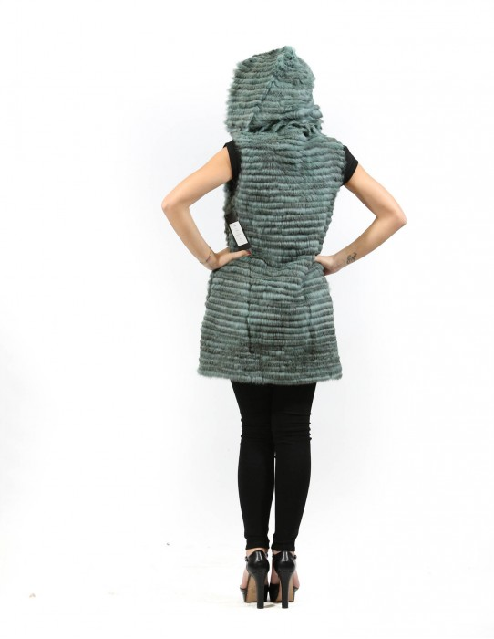 Fur sleeveless long green woman rex with cowl neck and pockets
