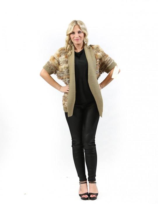 Pelliccia giacca tipo cardigan donna marrone di lapin e volpe con tessuto