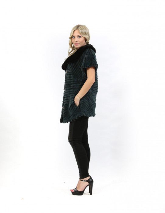 Fur jacket rex green and tricot mink with short sleeves and rhinestones hooks