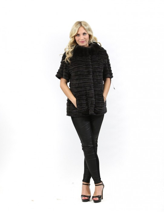 Fur jacket mink rex and worked tricot with short sleeves and round neck