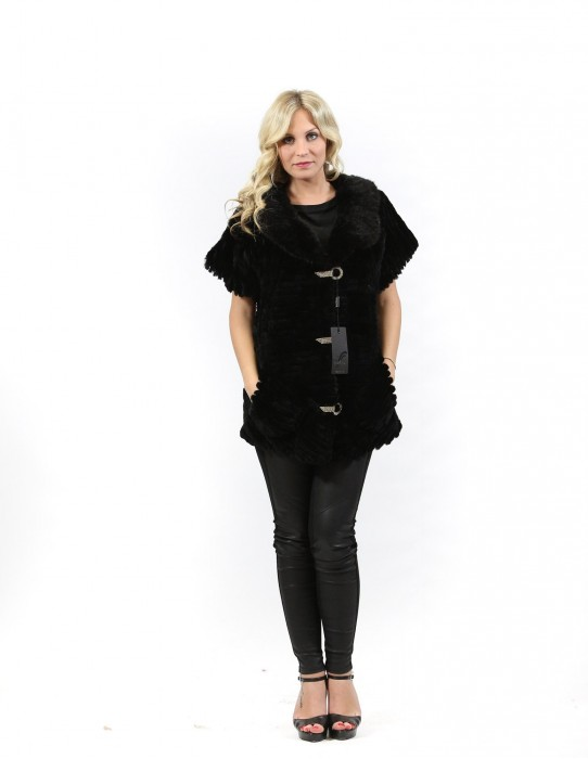 Fur coat rex black woman with short sleeves and a rhinestone hooks