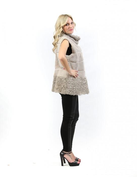 Fur gilet lapin beige woman worked horizontally with Kalgan