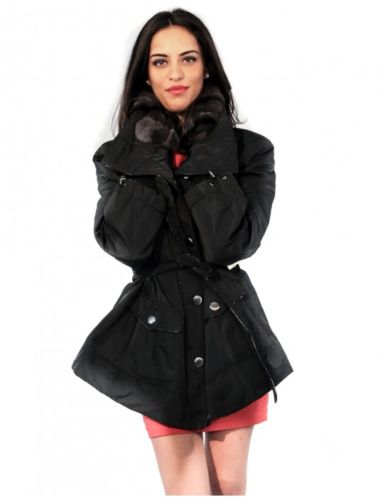 59 PUFFER JACKET WITH WIDE NECK DETACHABLE FABRIC AND REX
