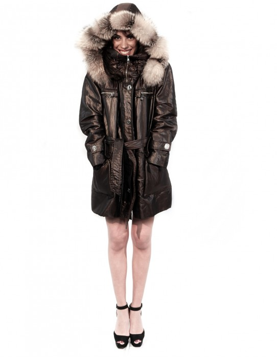 53 PUFFER JACKET BROWN SHINY HOOD DETACHABLE EDGED FOX AND COATING OF PAINT