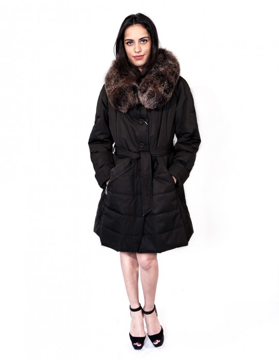 JACKET BLACK JACKET WITH FOX COLLAR DETACHABLE AND BUTTONS AND ZIP POCKETS