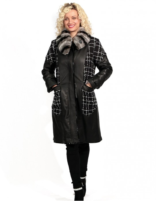 LEATHER AND WOOL COAT WITH DETACHABLE NECK IN REX CINCILLA PROFILE AND PATENT