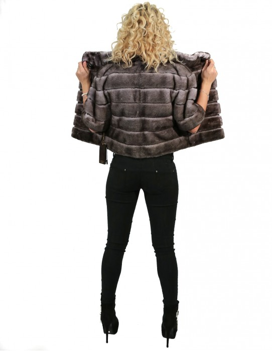 42 JACKET MINK IRIS NEW HORIZONTAL WORKING WITH NECK piping ELBOW SLEEVE