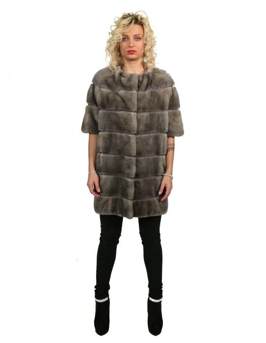MINK FUR COAT WITH BLUE IRIS PRODUCTION LEVEL AND NECK
