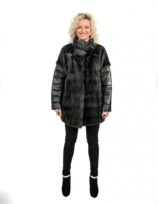 MINK FUR JACKET WITH HORIZONTAL BELT AND NECK AND NECK piping DETACHABLE SLEEVES
