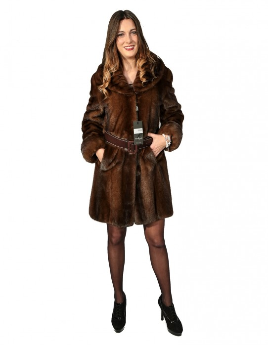 WOMEN'S FUR COAT WITH SKIN WHOLE SCANBROWN LAPEL COLLAR CLASSIC SHORT