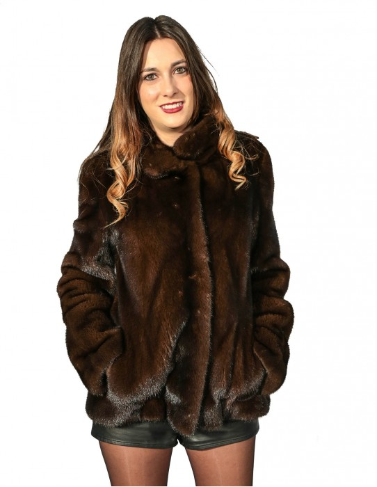 WOMEN'S FUR JACKET MAHOGANY NATURAL SKIN WHOLE NECK KOREAN