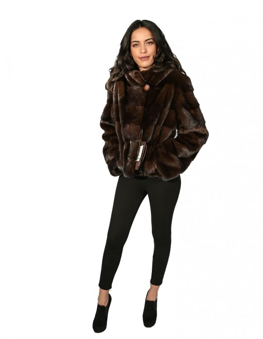 WOMEN'S FUR JACKET WITH HOOD AND WORKING WITH HORIZONTAL LIFE COULISSE