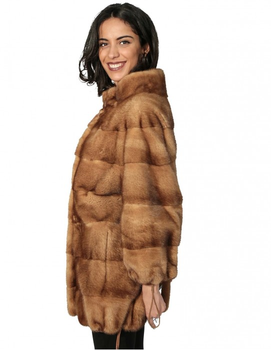 50 Women's fur mink coat with horizontal bottom and drawstring sleeves with buttons