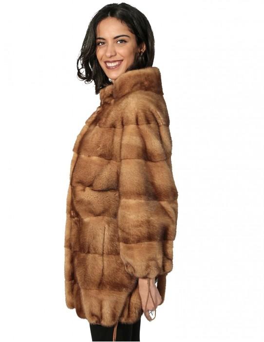 50 Женская меховая норка пальто с горизонтальным дном и шнурком рукава с кнопками