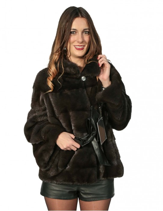 MINK FUR COAT WOMAN HORIZONTAL BELT WITH LEATHER INTERIOR WITH KOREAN NECK