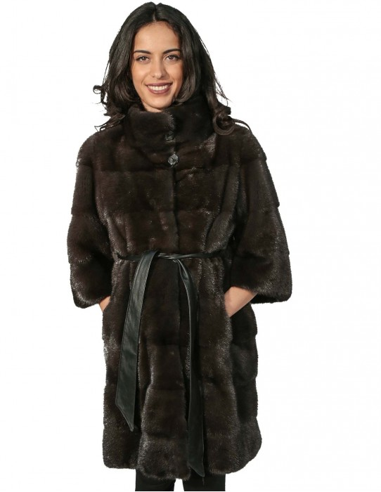 WOMEN'S FUR COAT MINK 48 DYED AURORA piping HORIZONTAL COLLAR AND MANIC 3/4