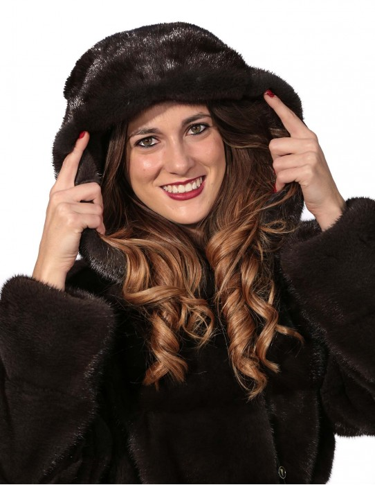WOMEN'S FUR COAT WITH HOOD BELT AURORA MINK AND SPLIT SIDE horizontal