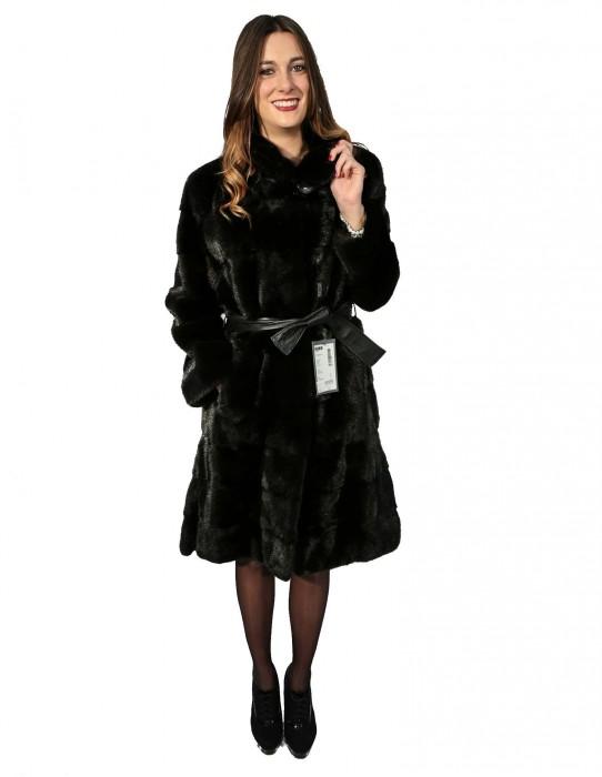 46 Pelliccia donna cappotto visone nero con collo pistagna e spacchi fur mink Pelz Nerz меха fourrure