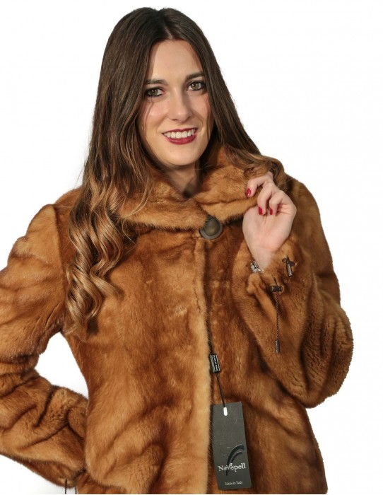 44 blouson golden mink fur woman with drawstring bottom edge and adjustable sleeve