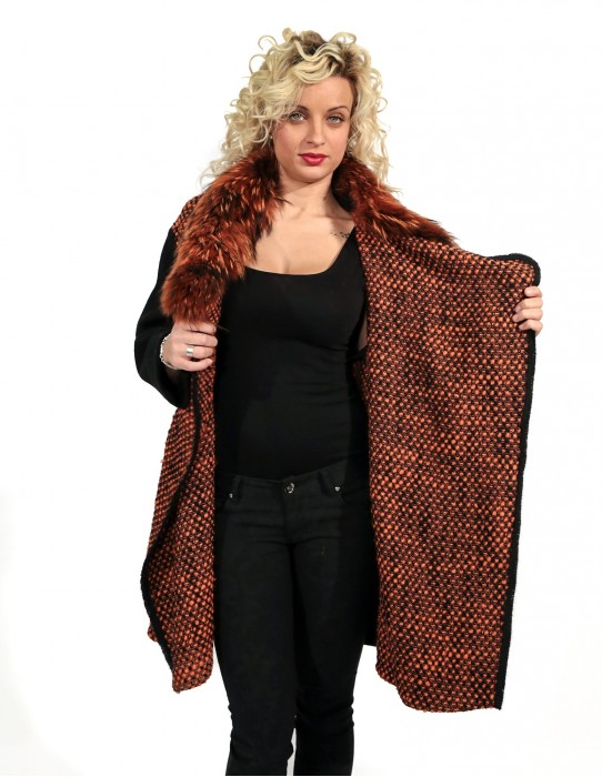 WOOL COAT WITH POCKETS ZIP BLACK AND ORANGE 46