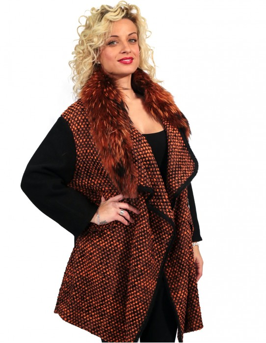 BLACK AND ORANGE WOOL COAT WITH POCKETS ZIP 54