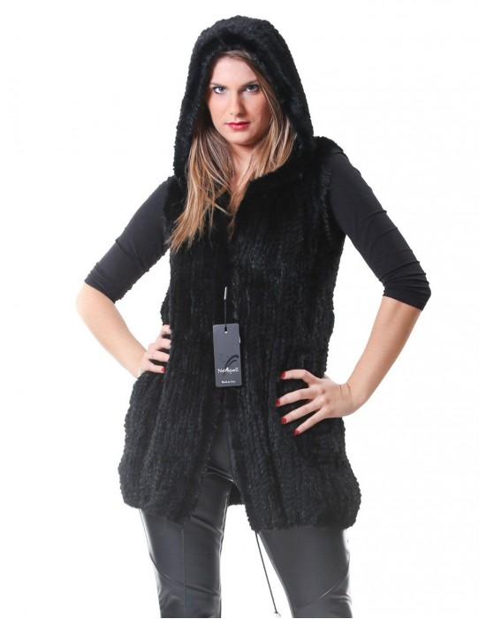 MINK FUR COAT VEST BLACK WOMAN TRICOT