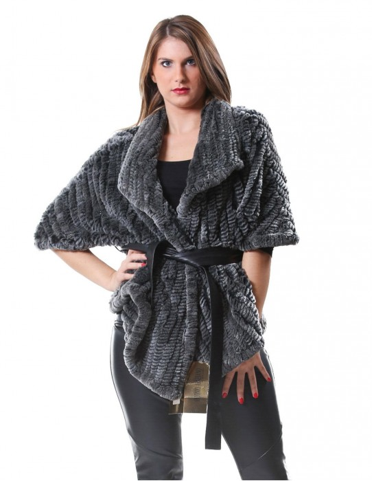 FUR VEST JACKET REX RABBIT GREEN WOMAN WORKING WITH TRICOT