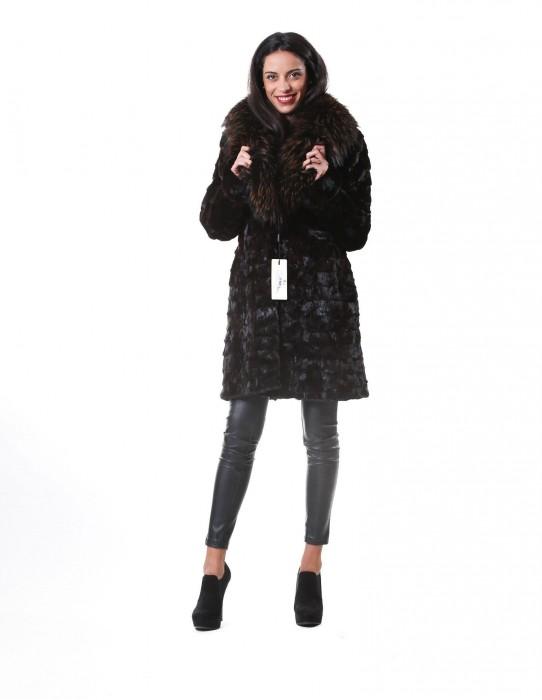 50 MINK FUR COAT PETALS WOMAN IN DARK BROWN AND NECK MURMASKY