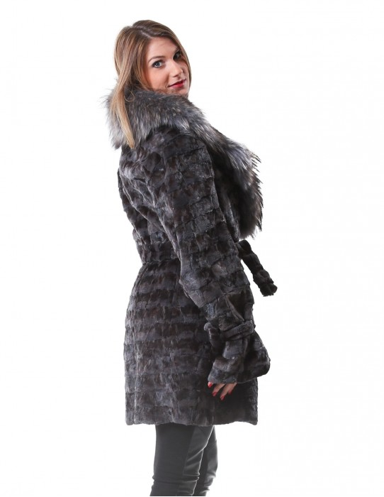 MINK FUR COAT WITH A PETAL WOMAN IN BREAST AND LAPEL MURMASKY