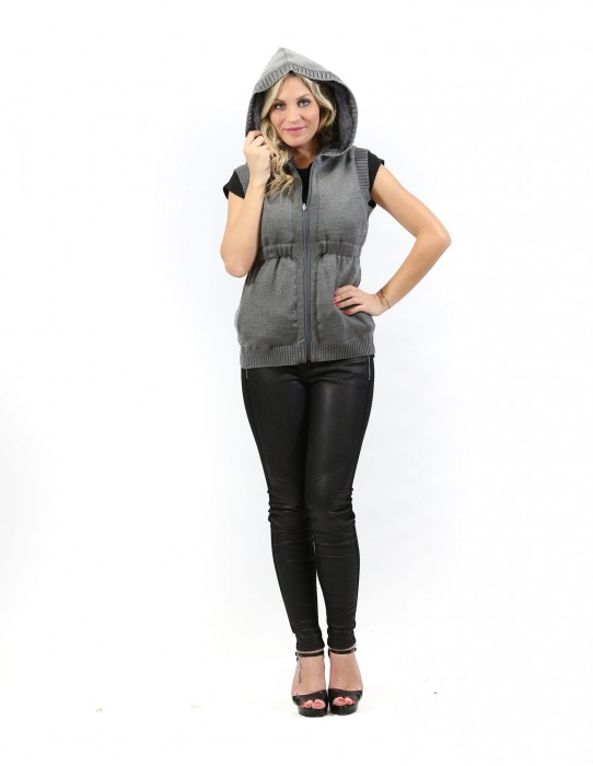Fur woman sleeveless gray rabbit fur zip hood and pockets S