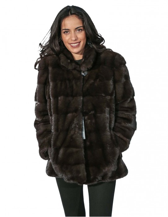 48 fur woman jacket dyed mink mink with horizontal work and collar