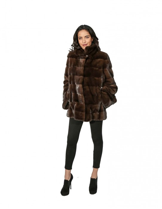 WOMEN'S JACKET MINK FUR COLLAR SCANBROWN ADJUSTABLE 48