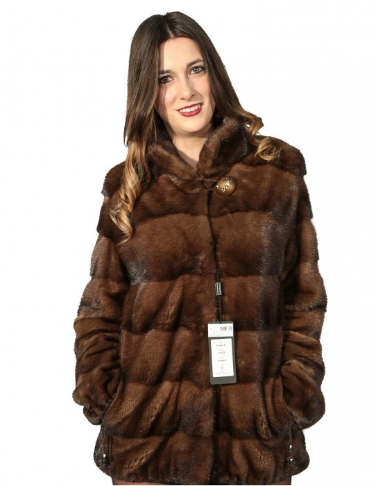 44 brown mink fur jacket with drawstring bottom and sleeve mandarin collar