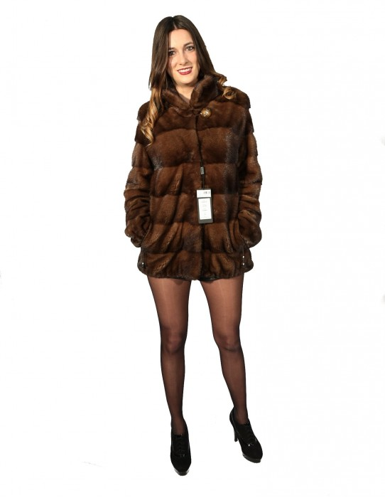 WOMEN'S FUR JACKET MINK SCANGLOW DRAWSTRING FUND AND NECK SLEEVE KOREAN 46