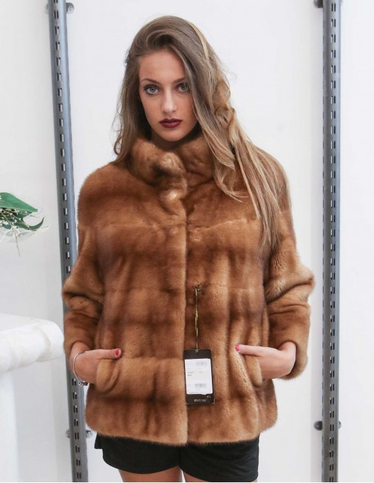46 Horizontal mink fur jacket with gold collar braschi